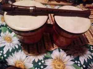Wooden bongos&recorder