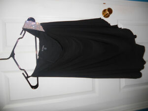 One Shoulder Rhinestone Studded Black Dress