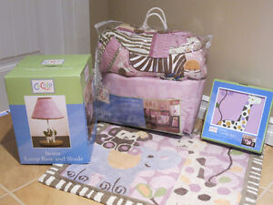 Baby girl bedding and decor - 12 pieces