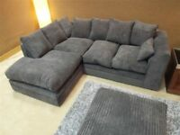 BRAND NEW JUMBO CORD GREY FABRIC 3 SEATER 2 SEATER SOFA SETTEE COUCH CORNER SUITE GREY BLACK BROWN