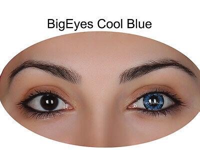 Farbige Big Eyes Kontaktlinsen mit Stärke Cool Blue / Dolly Black