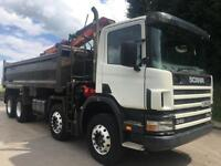 2005 Scania 114 340 8x4 Thompson bodied tipper, Epsilon E100L crane with grab