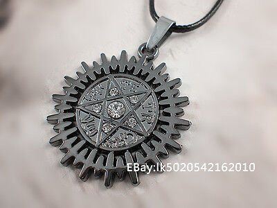 1 Pcs Stainless Steel Punk Pentagram Star Crystal Pendant Leather Chain Necklace on Rummage