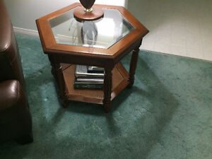 End table set w/ glass tops