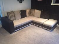 Corner sofa and matching foot stool