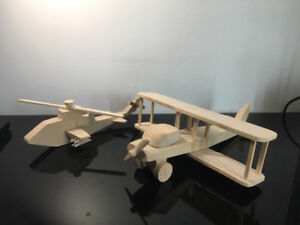 Two Wood Planes. Cobra Helicopter & Propeller plane