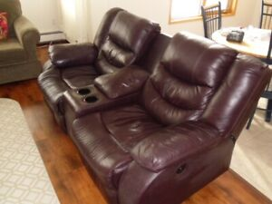Power leather love seat