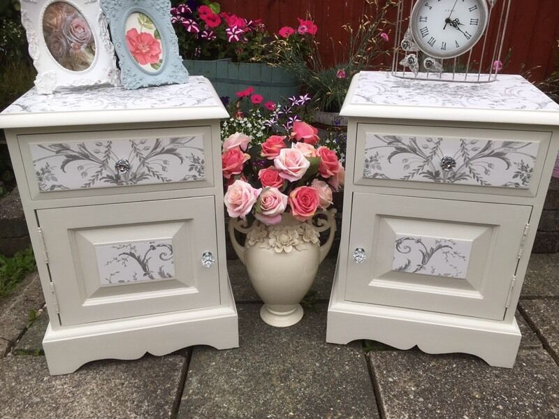 Shabby Chic Solid Wood Upcycled Pair Of Bedside Tables