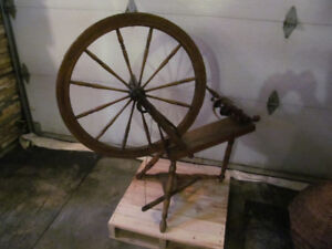 rouet spinning wheel bois wood antique vintage