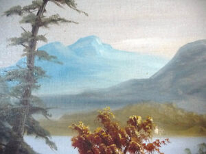"Antique, Large Original Oil, ""Lake George"" by C. G. White Stratford Kitchener Area image 8"