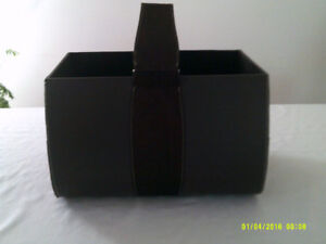 LARGE FAUX LEATHER AND SUEDE FIREWOOD HOLDER FOR SALE