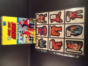 Topps Comic Book Heroes Stickers 1975 Box,Wrapper,Cards ( 10 )