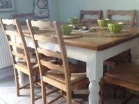 Shabby chic farmhouse table (6) chairs