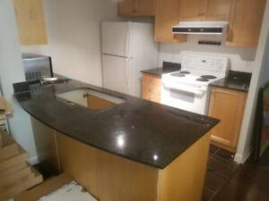 kitchen fridge oven dishwasher microwave cabinets countertop