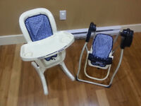 RARE GRACO DOLL SWING AND HIGH CHAIR. Swing has motor and music