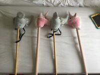 Children's horse and elephant broomsticks