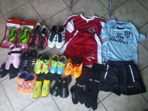 Soccer Cleats, Shin Guards, T-Shirts and Shorts new or in great