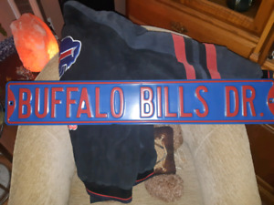 Large suede Buffalo Bills jacket and street sign $50