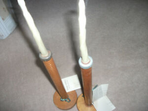 wooden bobbin candle holders (2 p.)