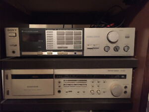 Harmon Kardon tape deck CD291 , Sony receiver and stereo stand