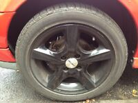 5 Dezent wheels with good condition tyres (Fiesta, polo, mini) black