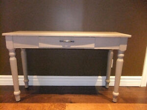 solid wood accent console table with faux drawer, chalk painted