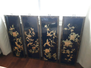 Vintage lacquered and shell wall plaques