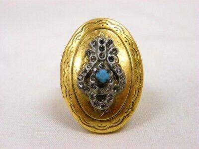 MISS ELLIE NYC Daphne LOCKET RING Crystal Black Diamond Turquoise Bronze $54 NEW