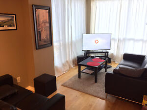 Roommate wanted in downtown condo, May 1.