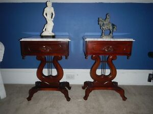 Victorian marble top harp tables