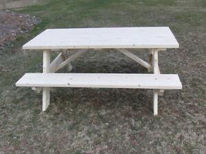 Custom built wooden picnic tables