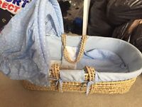 Moses basket with white rocking stand
