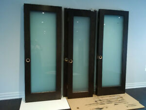 10 Interior Doors  - Dark Stained Oak & Frosted Glass