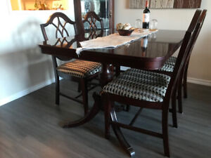 Dining Room Set - Table, Chairs, Buffet and Corner Glass Cabinet