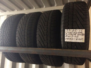 195-65-15  CONTINENTAL EXTREME WINTER  SNOW TIRES & RIMS