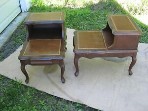 WALNUT TWO TIER END TABLES --FRENCH PROVINCIAL DESIGN