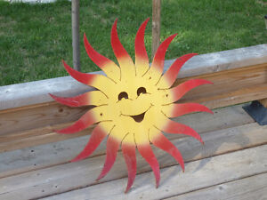 "SUN SMILEY FACE 24""  ONE OF A KIND OUTDOOR HANGER"