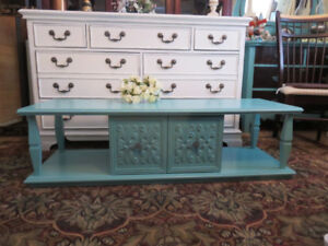 Pretty Teal Shabby Chic Coffee Table on Deck with Great Carvings