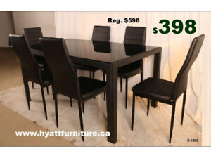 Brand new 7 pcs Glass top  Dinette Set only $398
