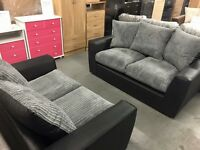 NEW ...BLACK AND GREY or BROWN/BEIGE 3&2 SOFAS -