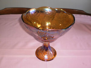 Antique Dish  Indiana Amber Carnival Glass
