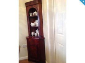 DFS Corner Display Cabinets Units Dark Wood