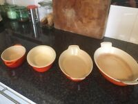 Collection of Le Creuset Dishes plus 1 cousances