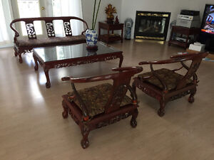 Handcrafted Antique Rosewood Living room set