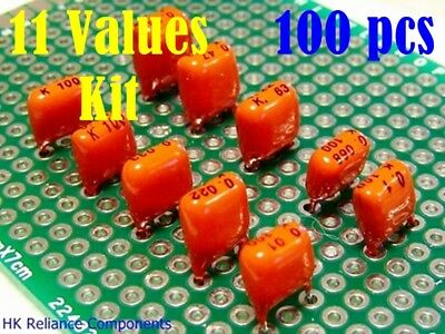 Kit 100pcs 11 Values 0.01 1uf Metallized Polyester Pe Film Capacitors Pilkor