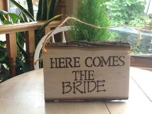 REAL WOOD SIGN , HERE COMES THE BRIDE