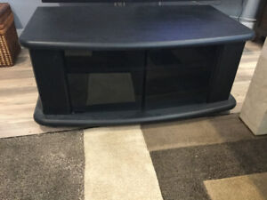 Black TV Stand with glass doors on wheels