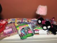 Girl stuff/purse/stamps/colouring/lamp/clock/doll/dvd!!