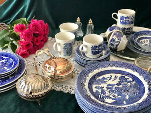 Antique and vintage dish collections, including Blue Willow