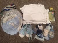 Newborn 0-3 baby boy bundle vests grows hats socks shoes
